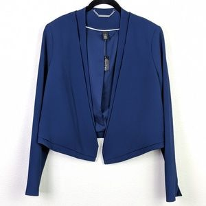 WHBM Cropped Jacket in Noble Blue Size 8 NWT